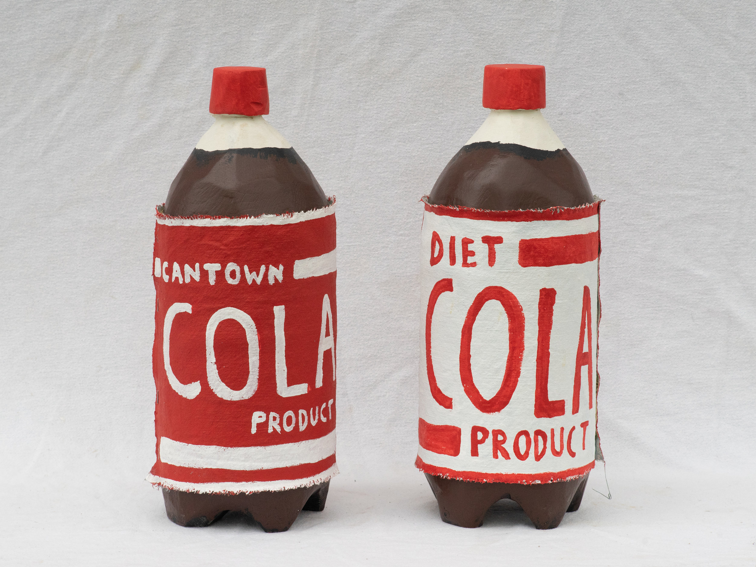 "Matt Barter Cantown Cola painted canvas label on wood sculpture 20""x6"" 250.00 quantity 4"
