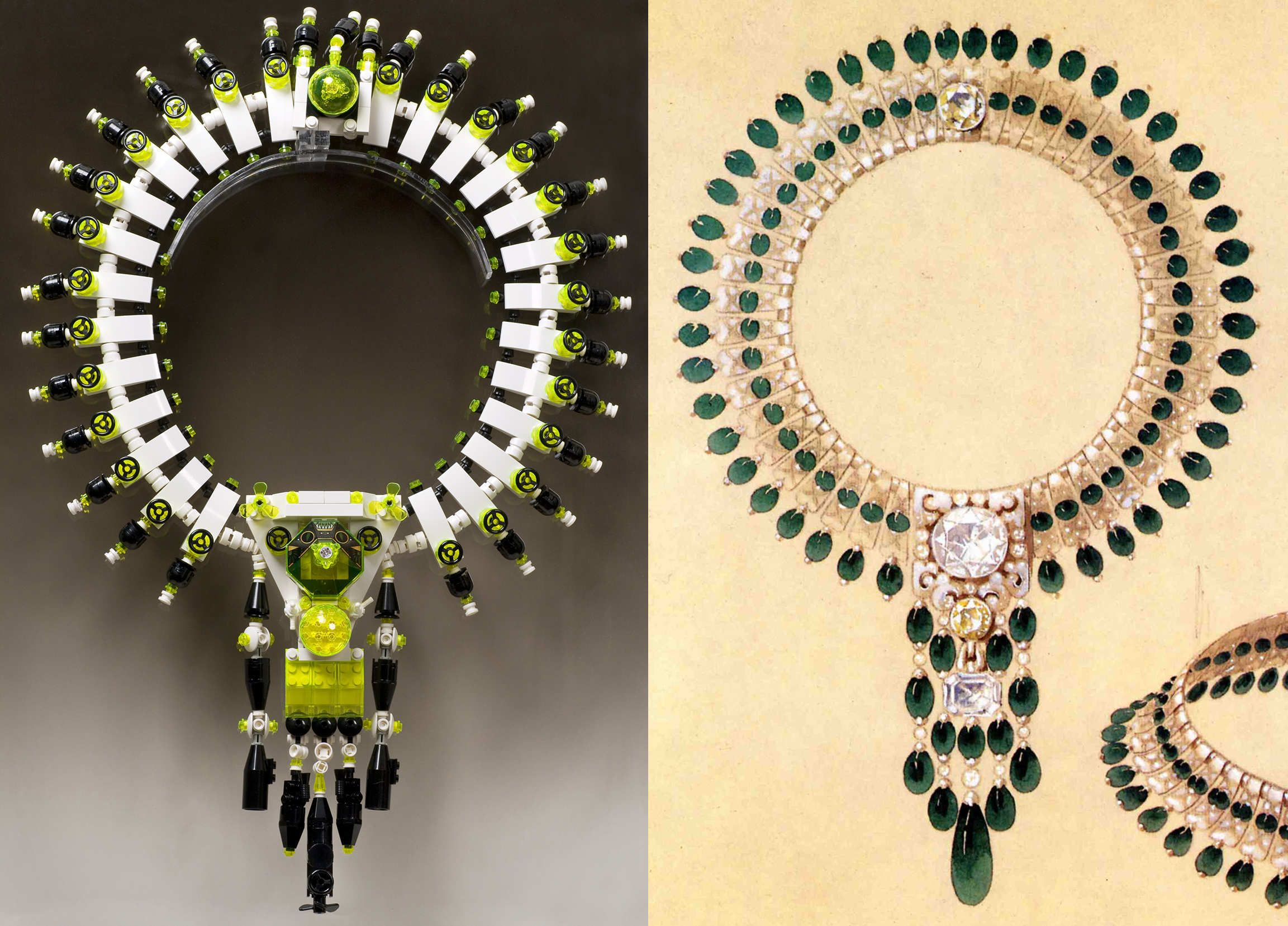 Maharajah's 6th from  My First Royal Jewels  Jewelry Collection& Inspiration image: Boucheronemerald, diamond, and platinum necklace, 1928