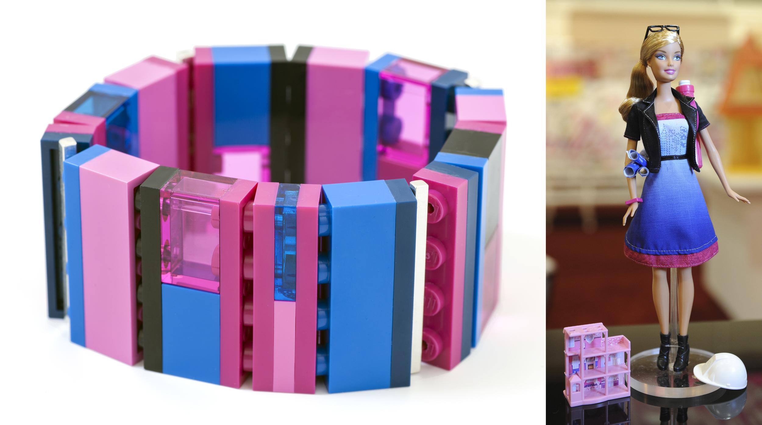 One-of-a-kind custom collaboration bracelet based on a ArchitectBarbie® palette