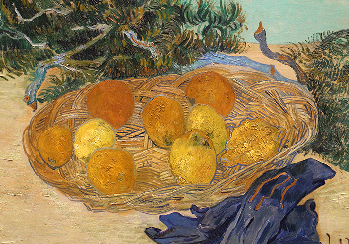 Slightly cropped Still Life of Oranges and lemons with Blue Gloves.  1889. A recentacquisition to the National Gallery collection.