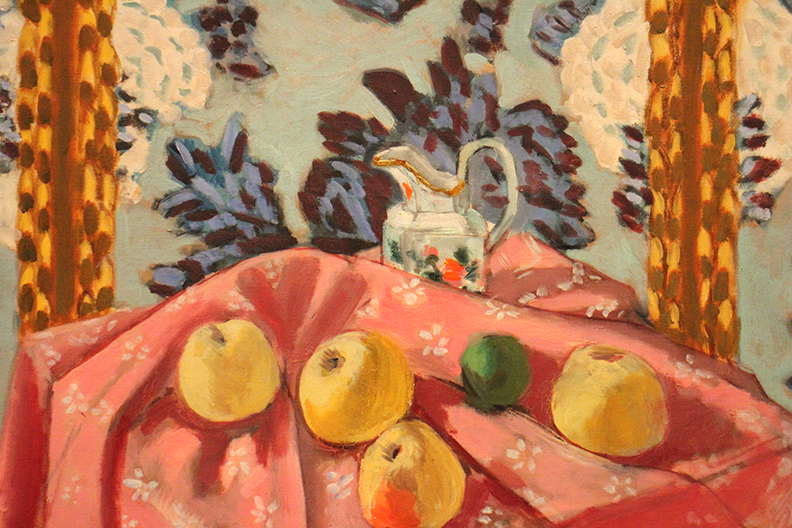 Detail from Still Life: Apples on Pink Tablecloth.  Henri Matisse. 1922.