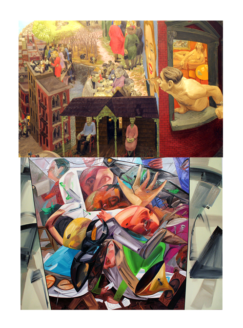 Above:  Henry Koerner (1915-1991), Mirror of Life, 1946. Oil on composition board, 36 × 42in.  Below: Dana Schutz, Elevator, 2017. Oil on canvas, 144 x 180 in.