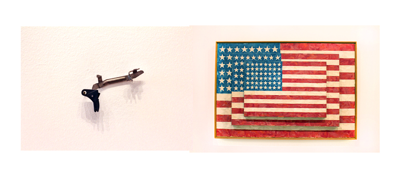 Left:  Gun Trigger.  Can not find artist.                         Right:  Jasper Johns. Three Flags, 1958.                                                                                                    Encaustic on canvas, 30 7/8 × 45 1/2 × 5 in.