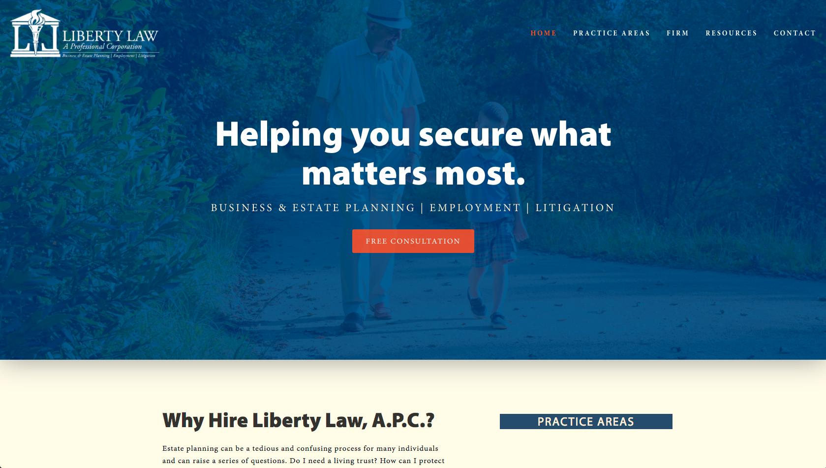 Liberty Law - APC, CPA & Attorney Website Design