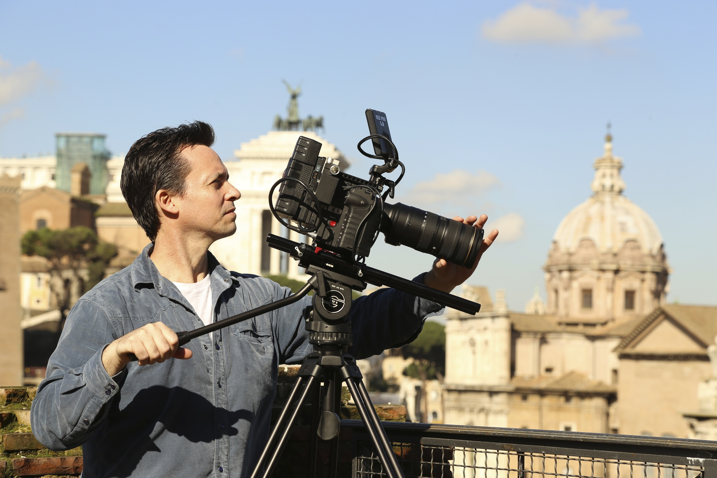 Shooting with RED Epic atop the rampa overlooking the Roman Forum.