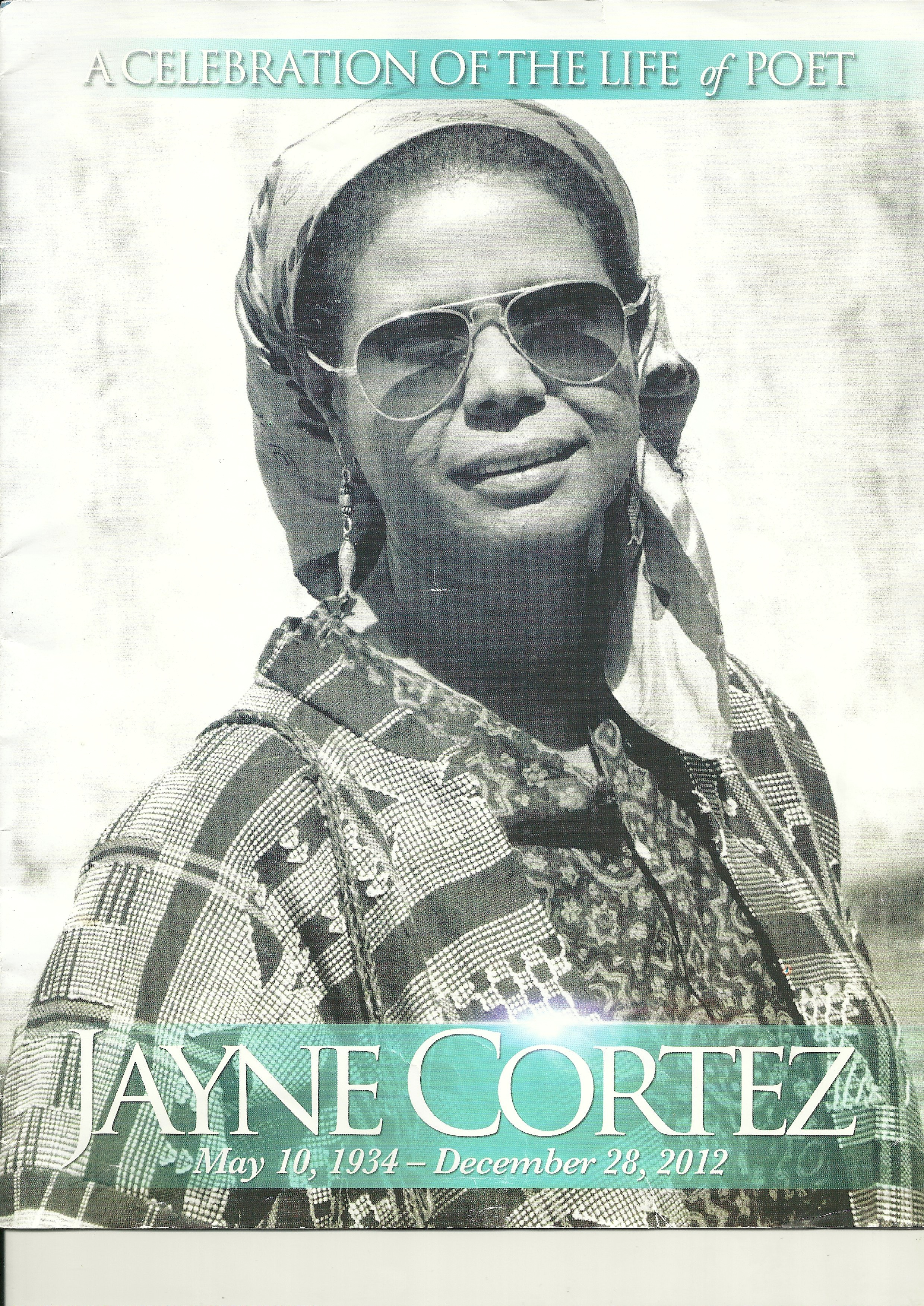 Cover of the Jayne Cortez memorial program, from the Celebration of her life at Cooper Union's Great Hall, 2012.