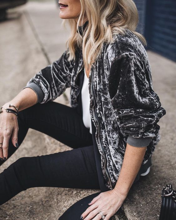 Image Via  Pinterest   8. Velvet Bomber. Two of the biggest trends of winter, and one I am still loving. Especially grey!