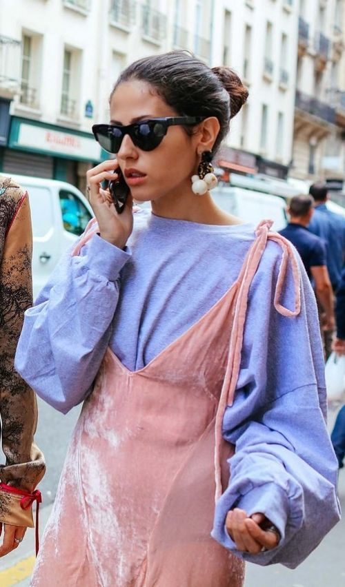 Image Via  Pinterest   5. I love the way she layered a chic velvet dress over a baggy sweater. Perfect combo of casual chic.