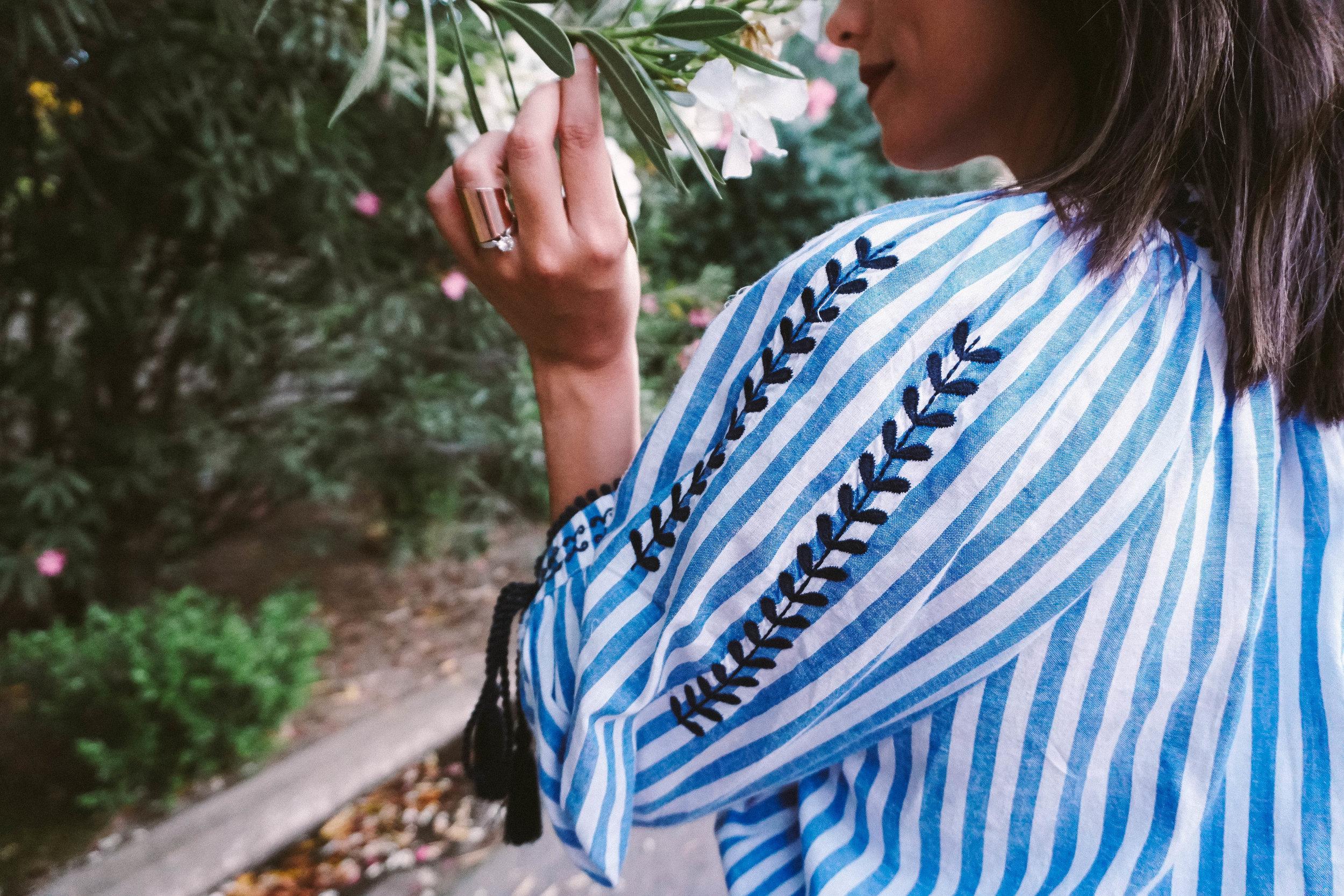 Memorial Day look - striped tunic - white denim skirt