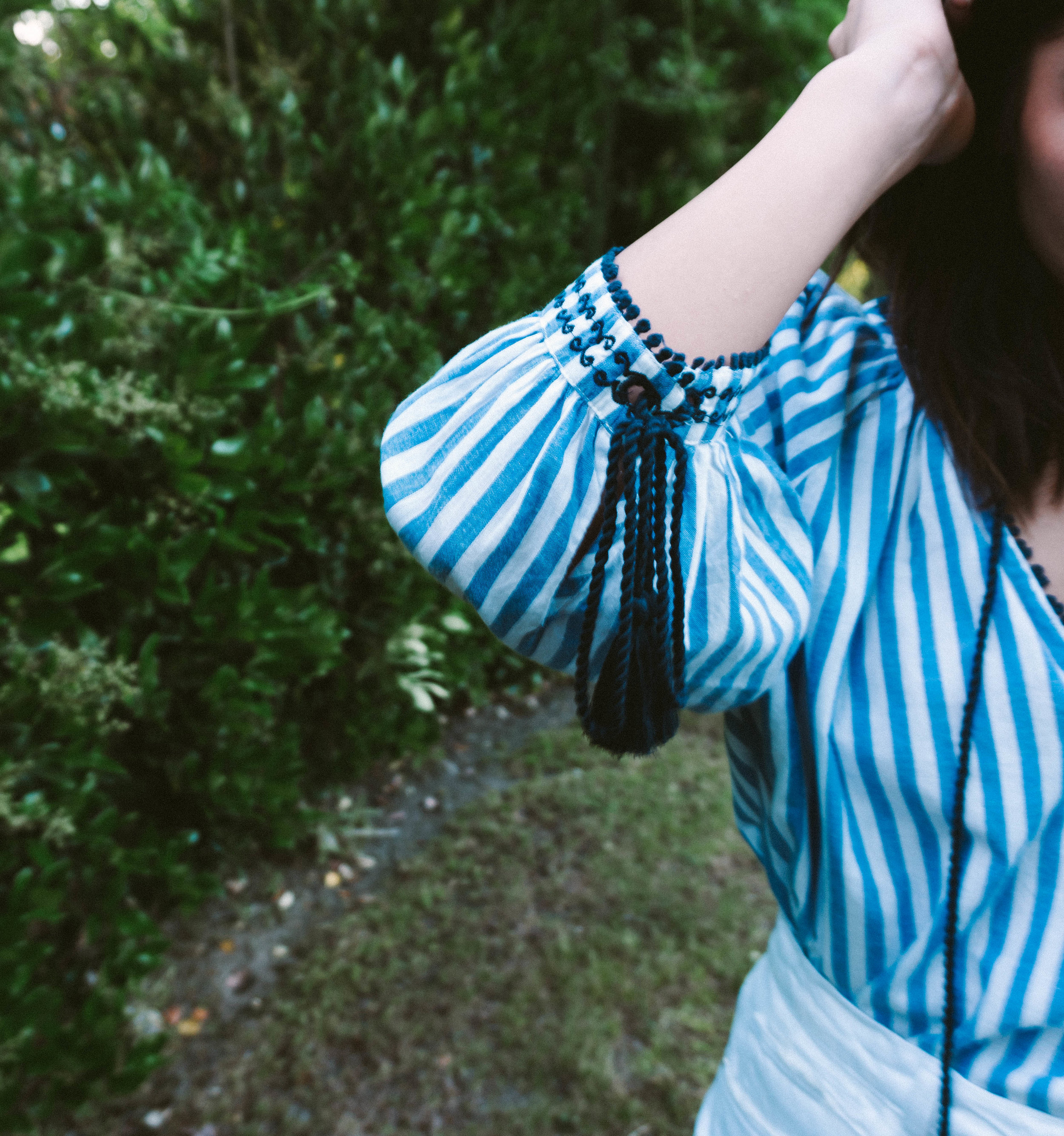Memorial Day look - striped tunic - white denim skirt 10