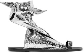 ISABEL MARANT - MAHEO METALLIC TEXTURED-LEATHER SANDALS - SILVER
