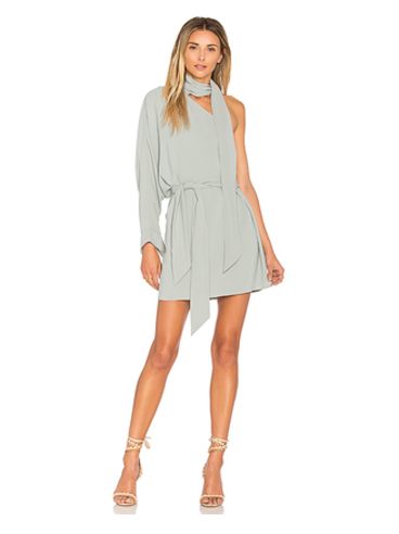 C/MEO Everlasting One Shoulder Dress in Gray