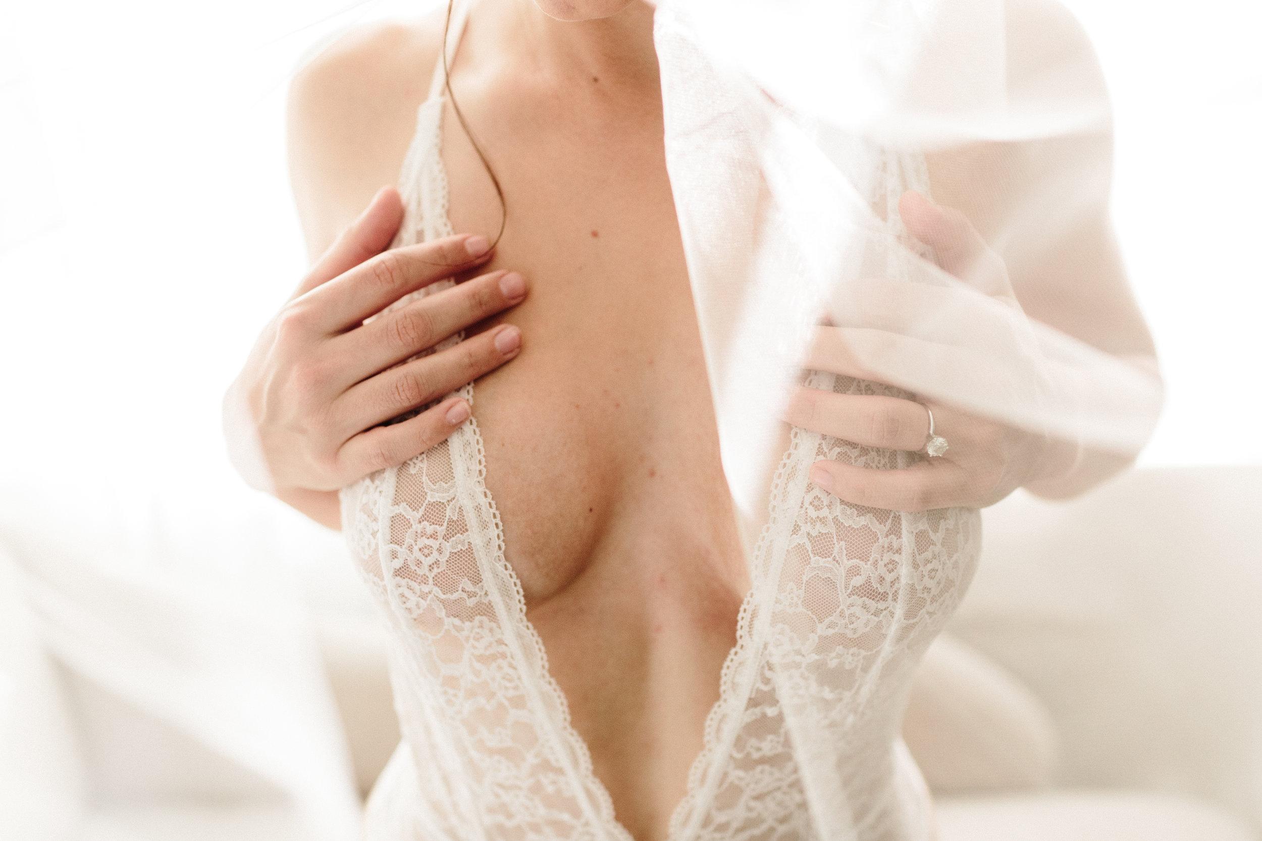 bridal boudoir with long white veil