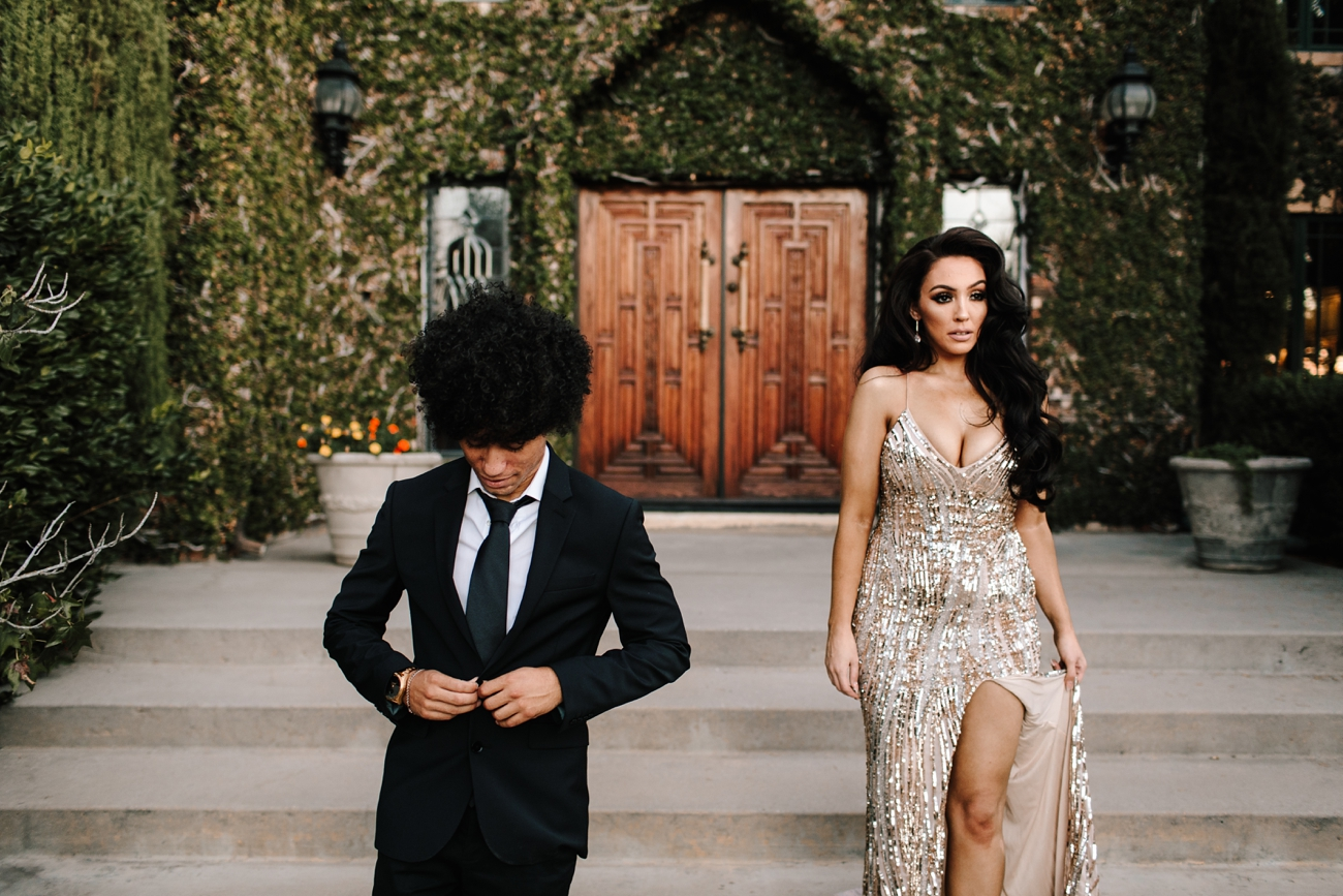 Chic couple and glamorous engagement session in San Diego