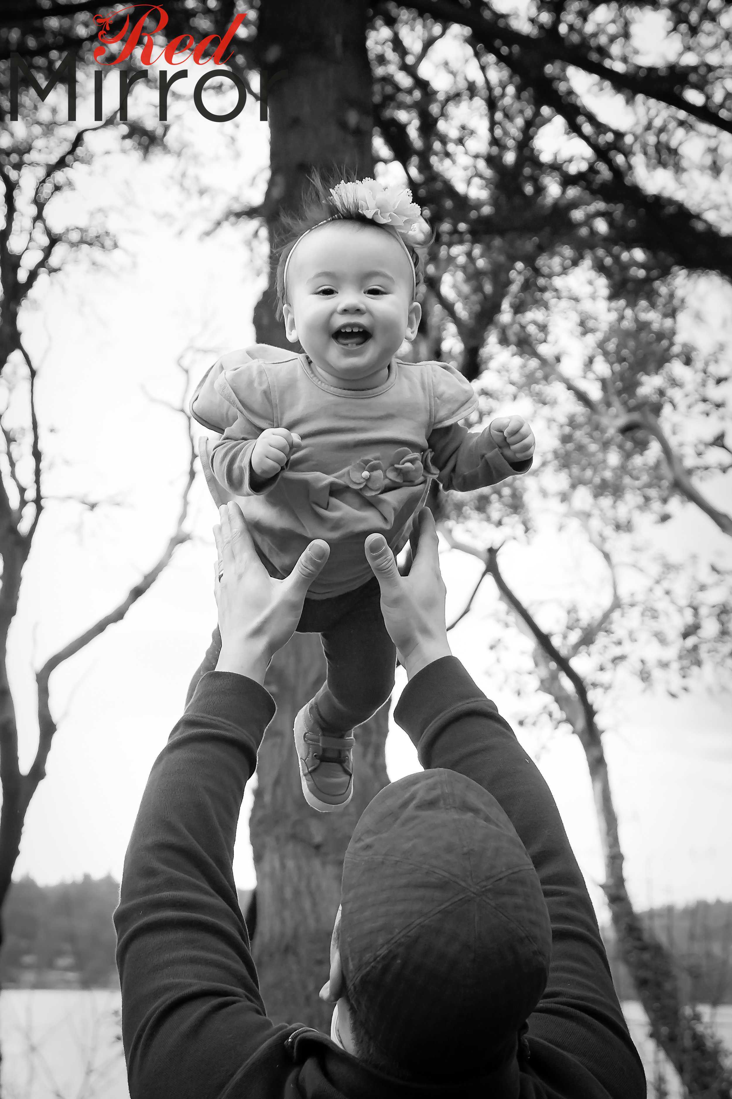 Little girl, laughing being thrown in the air by her Dad