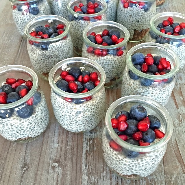 Chia Pudding + Pomegranate & Blueberries