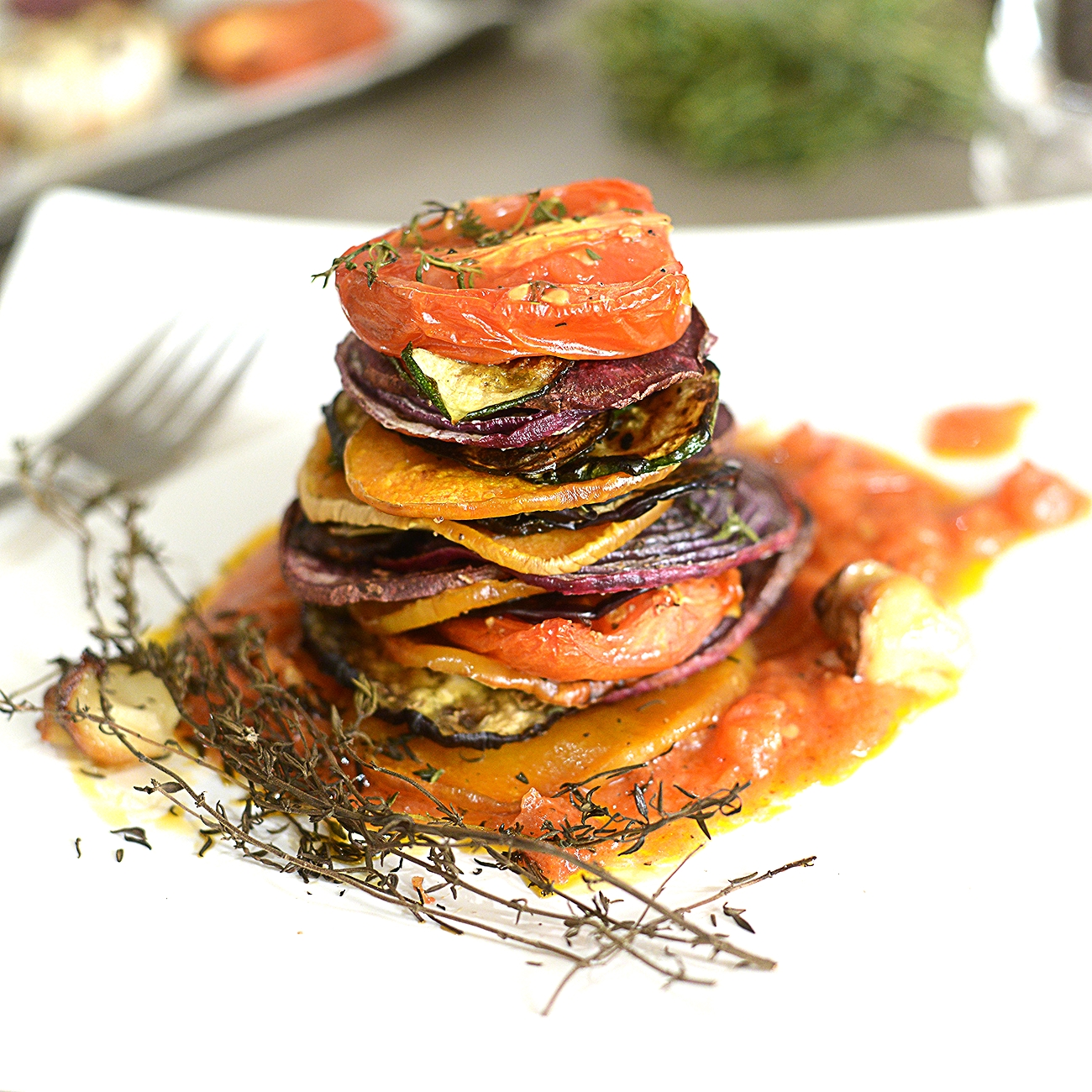 Vegan Roasted Vegetables w/ Thyme, & Tomato