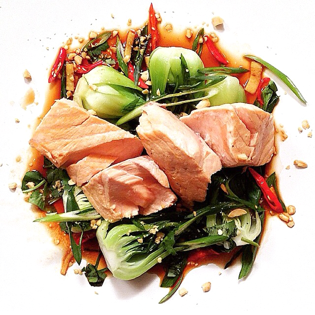 Poached Salmon Recipe w Ginger & Peanuts