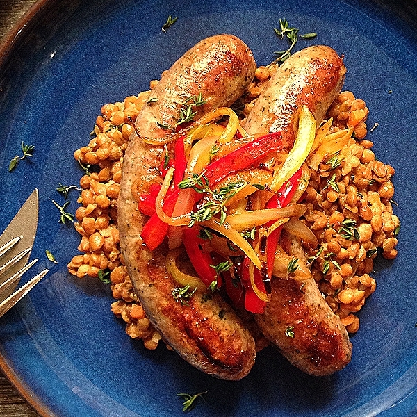 Fancy-Pants Bangers & Lentils w Red Pepper & Onion Relish