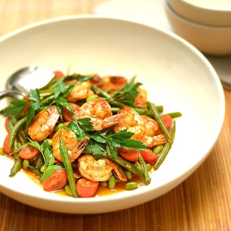 Chili Shrimp W Beans & Edamame
