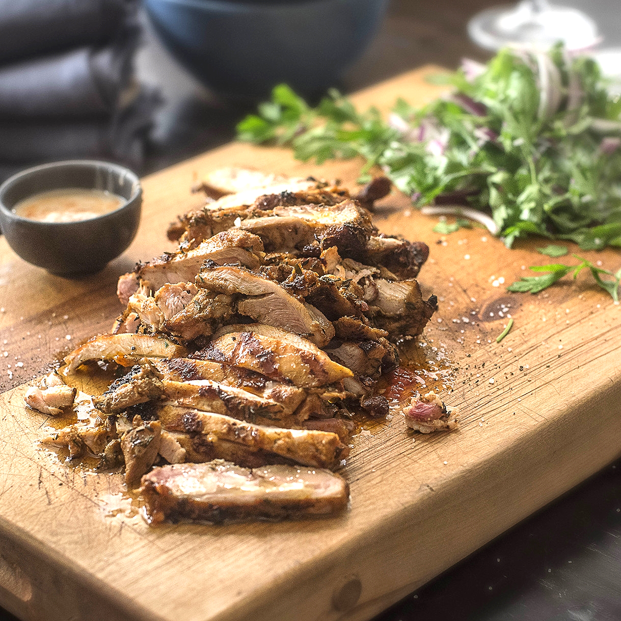 Grilled Spanish Chicken Thighs with Ripped Salad