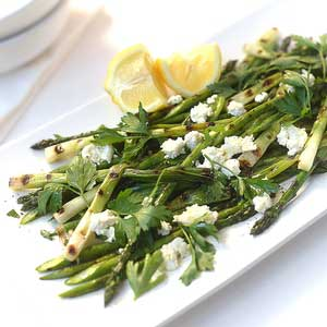 Grilled Salad of Asparagus, Green Onions, Beans & Goats Cheese