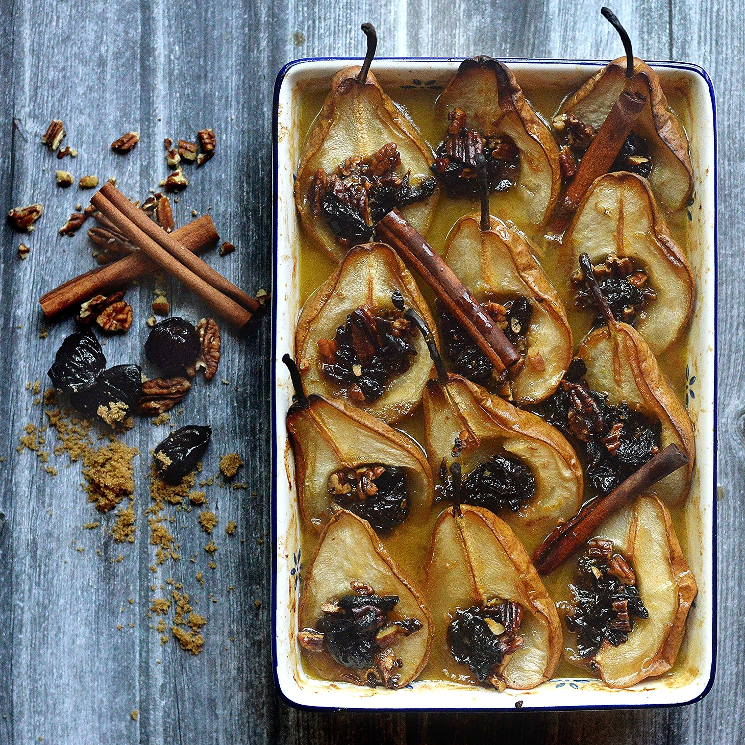 Roasted Pears with Pecans & Prunes by Chef Mike Ward