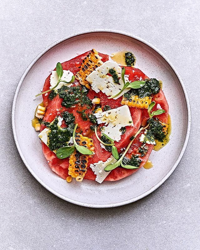 "I'm not gonna sugarcoat this. Not unlike chia seed puddings and grain bowls most watermelon salads make great instagram ""click bait"" but taste meh. I whipped up and photographed this fella today for @metroontario. Watermelon, Charred Corn, Feta & Spiced Basil Oil. I think she looks great, but more importantly she actually tastes like heaven. Recipe at ChefMikeWard.com and bio link.  #watermelonsalad #recipedevelopment #foodphotography"