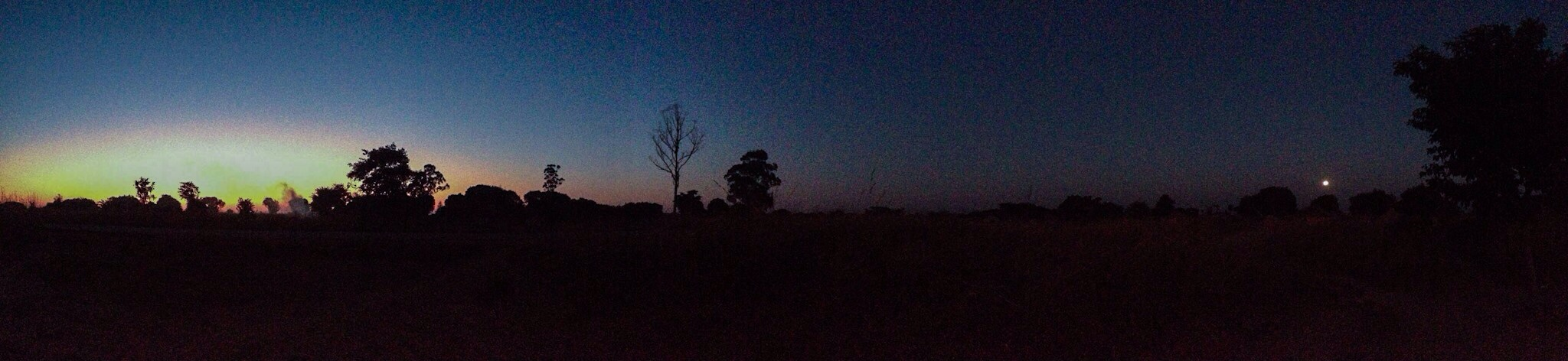 As the sun rises, we sweep the yard. Dust lifts into the sky attempting to hold up a full moon's departure.