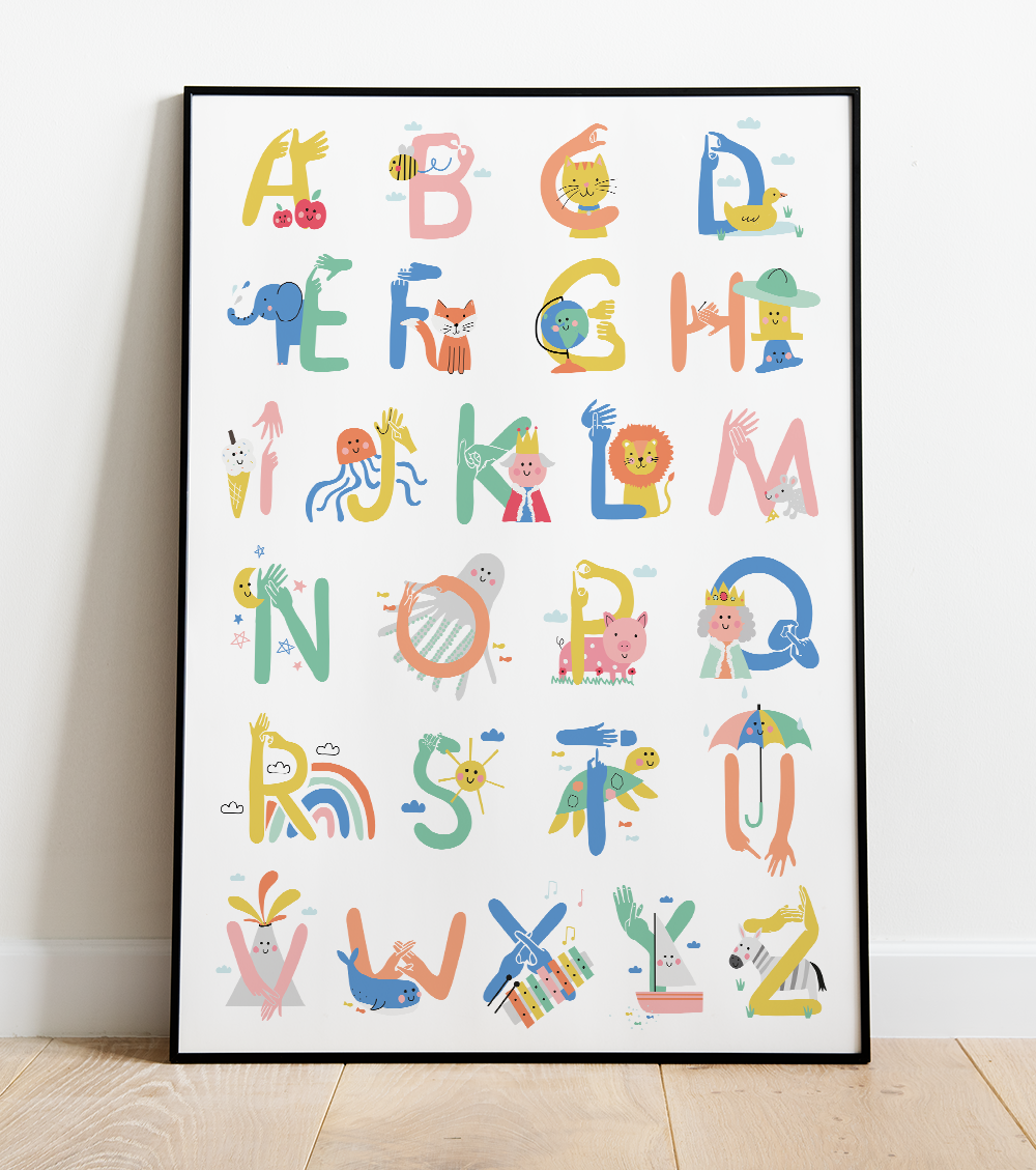 Alphabet Poster Design, with British Sign Language Illustrations