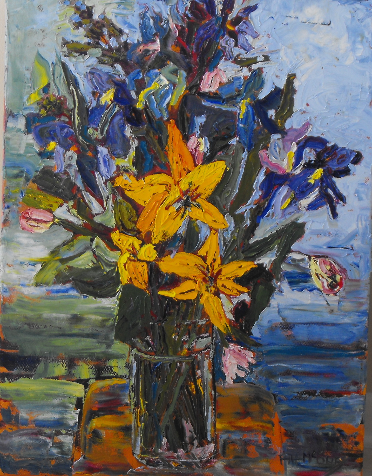 "Bouquet 20""h x 17""w - palette knife oil on canvas"