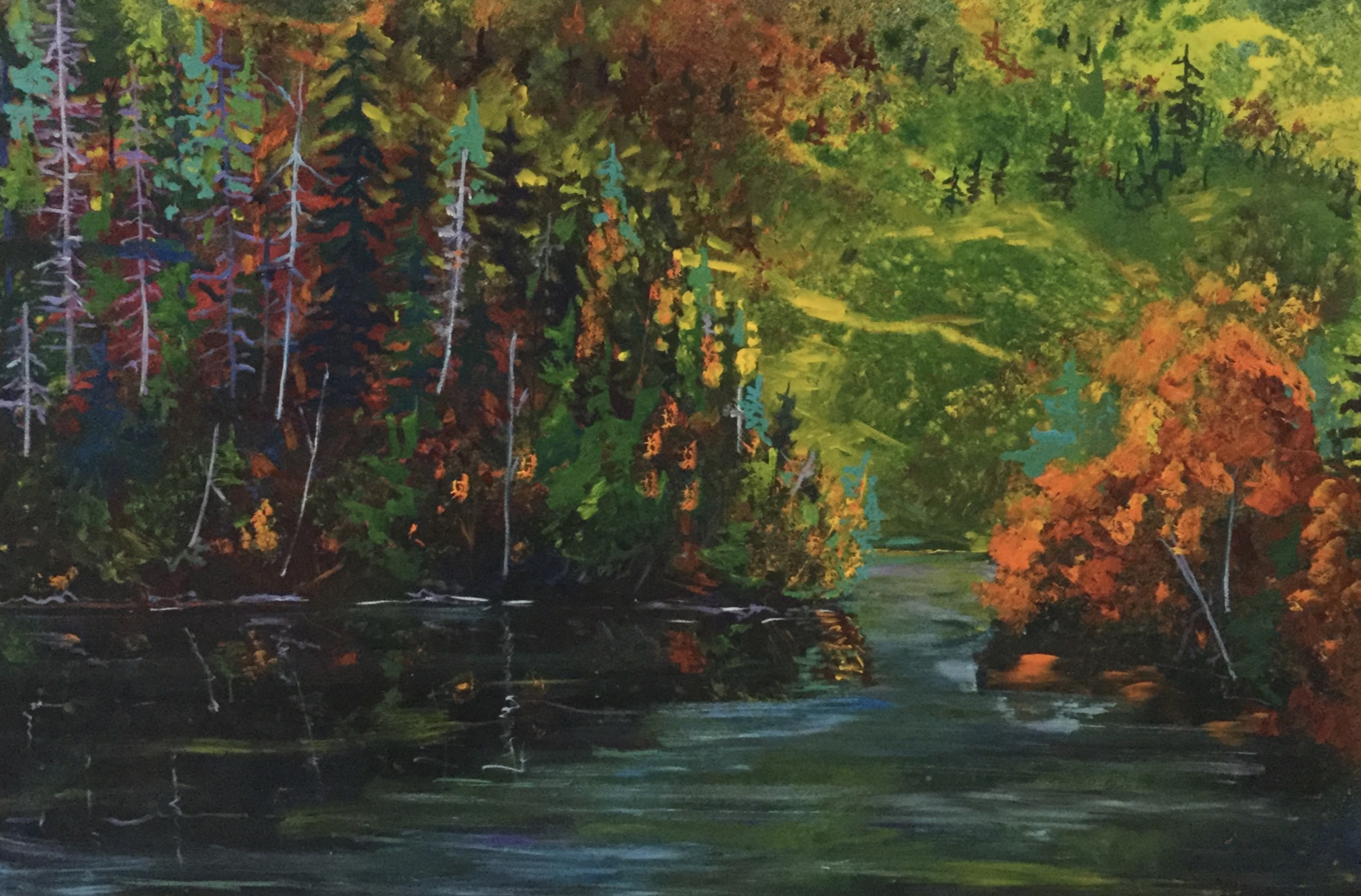 secret pond, 36X54, Acrylic on wooden panel