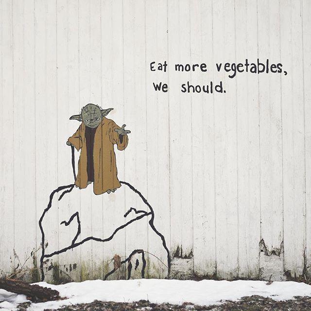 Found this during today's journey. #greencountywi #yoda #veggies