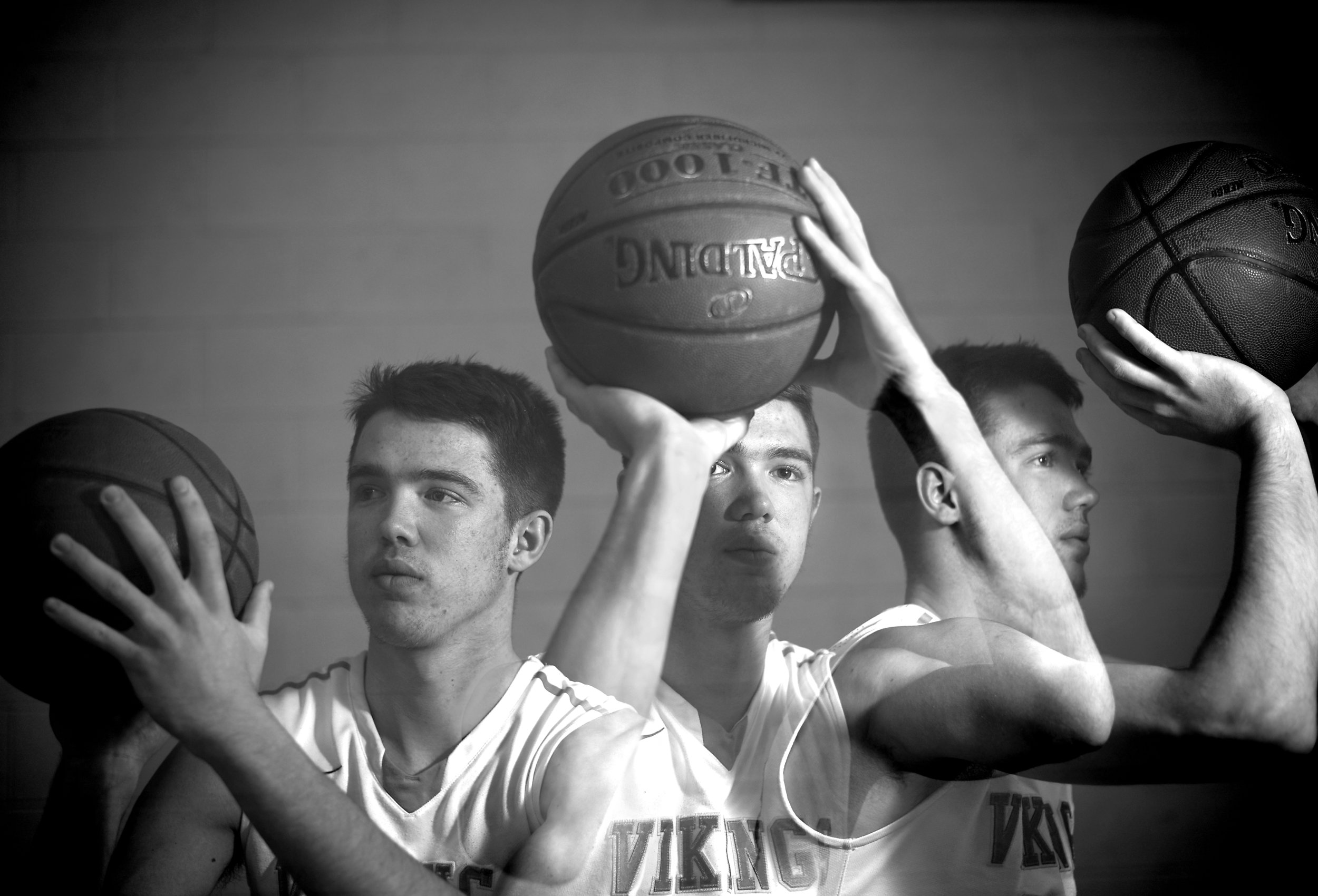A triple exposure shows Pecatonica senior AJ Hendrickson who has scored more than 2,000 points in his high school career.