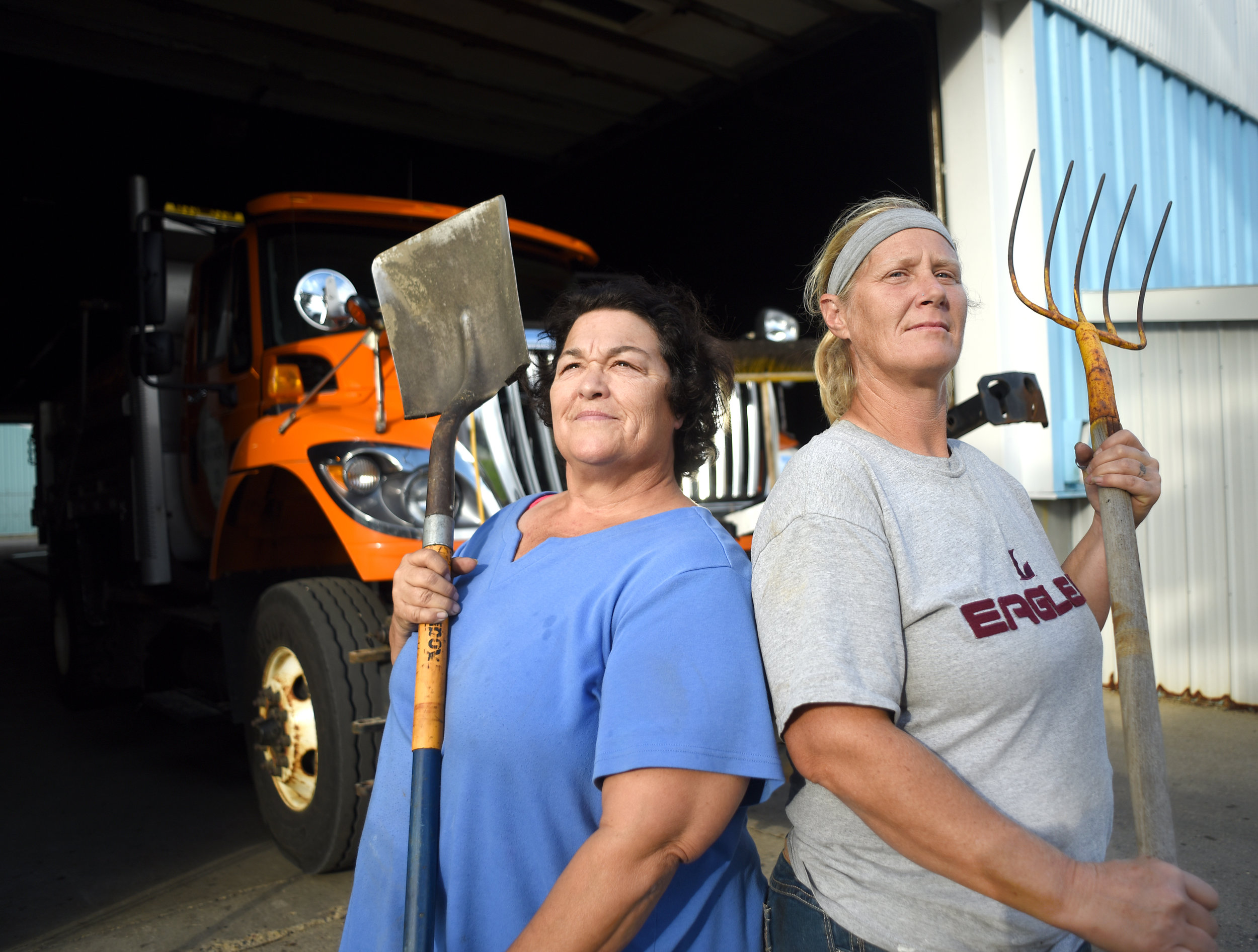 Cheri Foulker, 58, and Marsha Wilde, 45, are currently the only women permanent laborers for the Green County Highway Department. Foulker has been working for the high department for 25 years and Wilde has been there for about three months as of Oct. 4, 2016.