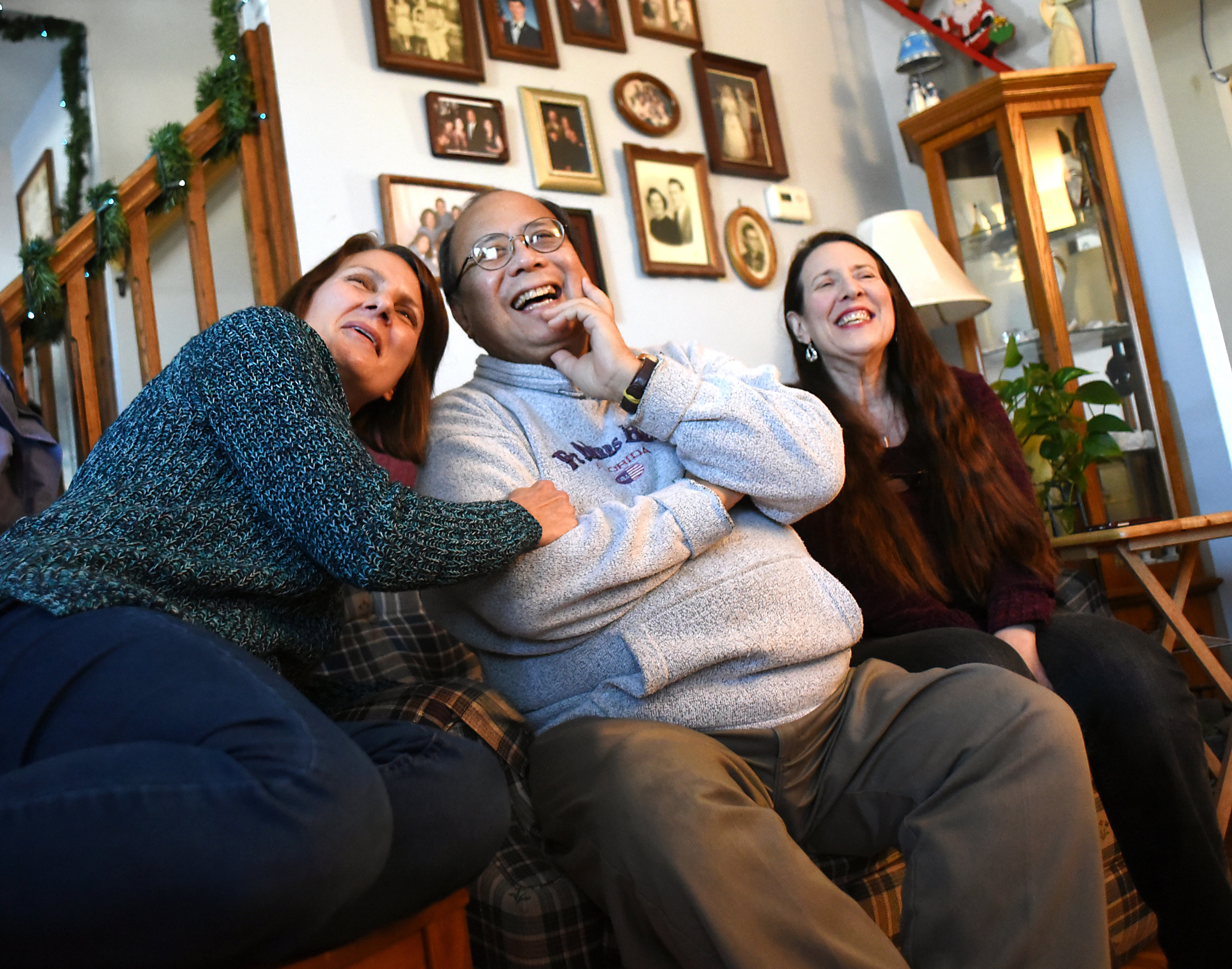 Christie Huber, Manny Bautista and his fiance, Laurie Athey, talk about their story in Bautista and Athey's home on Jan. 4, 2016.When Bautista, who has stage four kidney disease, posted on Facebook he was in need of a kidney transplant, Huber decided she wanted to be the one to donate to him.