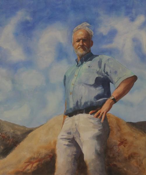 Dr. John Johnson, watercolor, 25x30, by Holli Harmon