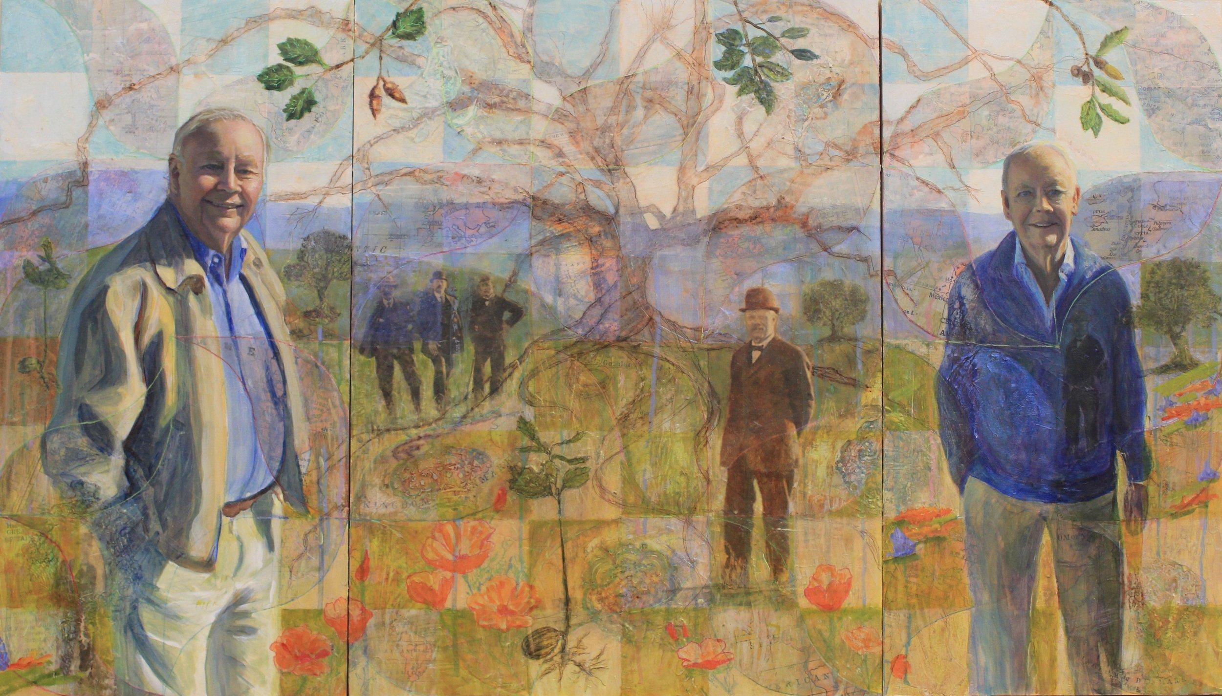 Erik and Hans Gregersen, multimedia tryptich, 12x24, 18x24, 12x24, by Holli Harmon