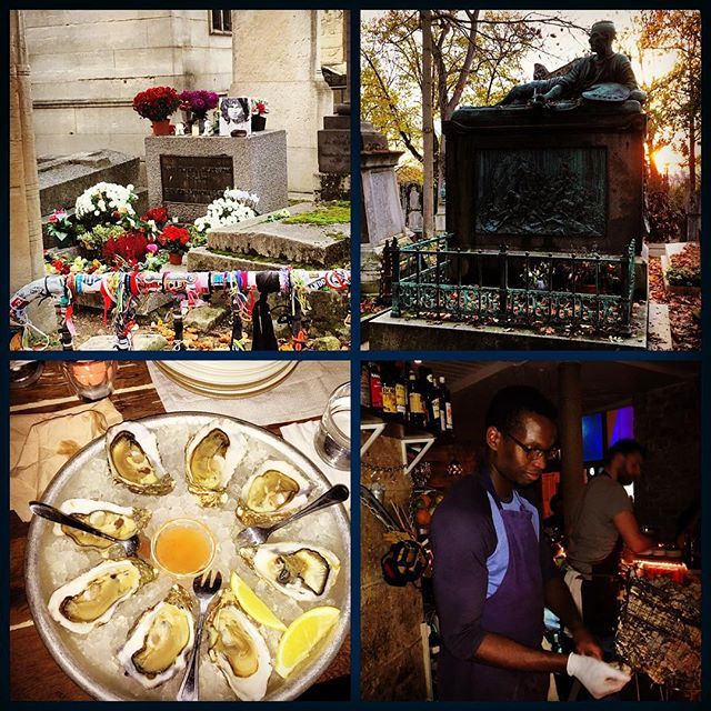 Day #2 Cocktails and Curiosities Paris Research - Great day at Père Lachaise Jim Morrison & Gericault shown here. Tip#1 - WEAR FLATS  Post tour dinner @ the Fabulous Mary Celeste !! Highly recommend! #paris #cocktailsandcuriosities #maryceleste