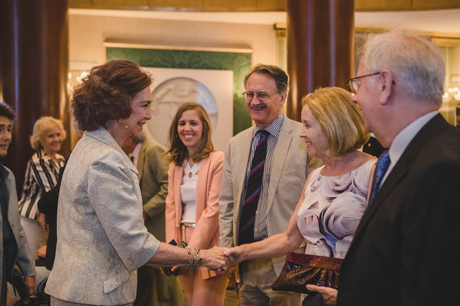 Queen Sofia of Spain being introduced to Virginia and myself at the Reina Sofia School of Music in Madrid