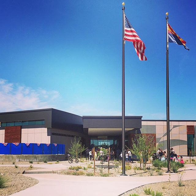 "What a great way to kick start the celebration of Memorial Day with the recent opening of Heroe's Regional Park Library in Glendale! ""The community voted for that name to honor all of the heroes in our community."" We were privileged to work with an amazing team on such a meaningful project for us and the @cityofglendaleaz . Photo courtesy of the project architect @dfdg_architects - they have a great eye for design and photography! #FinishedProjectFriday #FPF #memorialdayweekend #structuralengineering #architecture #heroes #construction"