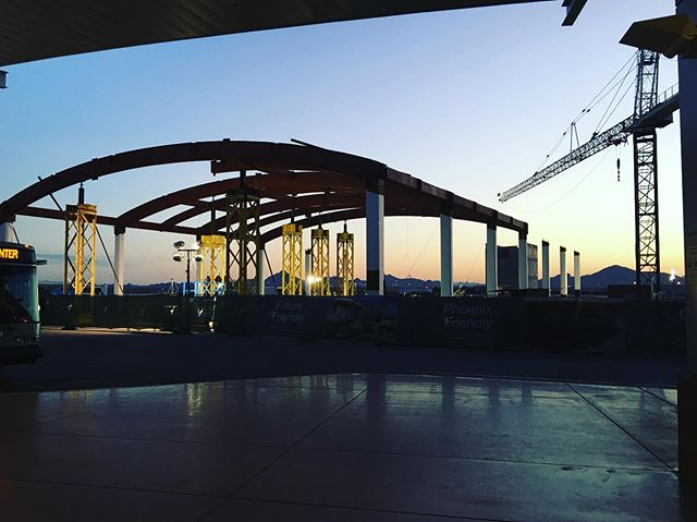 Rise and shine! Progress is looking great at PHX Sky Harbor Sky Train Rental Car Center station. Glad our connection design saved erection time, inspection time, and overall cost on the project. Stellar fabrication done by Able Steel Fabricators and erection by @lprconstruction Architect: @smithgroup GC: @henselphelps SEoR: @gannettfleming #WorkInProgressWednesday #WIPW #structuralengineering #construction #airport #skytrain #train