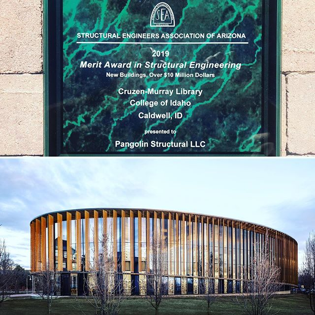We are extremely honored to receive the Merit Award in Structural Engineering from the Structural Engineers Association of Arizona for our work on the Cruzen+Murray Library at the College of Idaho! Kudos to @richard_bauer for a spectacular design! #library #structuralengineering #construction