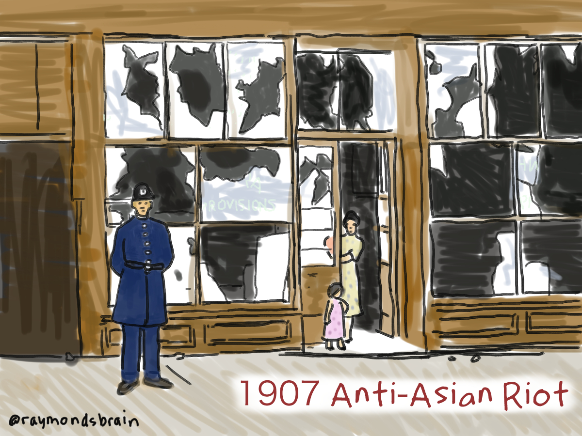 "Changes to immigration laws to Hawaii and the United States, led to large influx of Asians to BC in 1907. In the fall, an Anti-Asian riot attacked Chinatown and headed to Powell Street, the centre of the Japanese Canadian community. They had heard about the mob and repelled them. Nonetheless, concerns about immigration lingered. Japan was on good terms with Britain at the time, after defeating the Russians, and Canada's foreign policy was determined by Britain. So the Hayashi-Lemieux ""gentlemen's agreement"" led to Japan voluntarily limiting the number of male Japanese emigrants. Women were exempt and as more men settled down in Canada, they arranged marriages through photographs.  This drawing of the riot's aftermath is based on a photo from The Vancouver Sun."