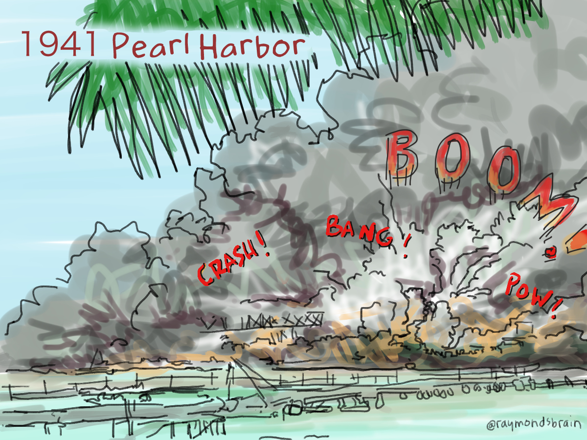 "Japan bombed Pearl Harbor in Hawaii on December 7 1941, ""a date which will live in infamy,"" according to Franklin Roosevelt, the president of the United States. i still don't get what Japan was thinking. The United States declared War on Japan and Canada joined in. Soon everyone of Japanese descent living along the coast of British Columbia became an enemy alien, whether they were Japanese Nationals, Naturalized citizens or Canadian born. My baachan's family dry cleaning business was sold off."