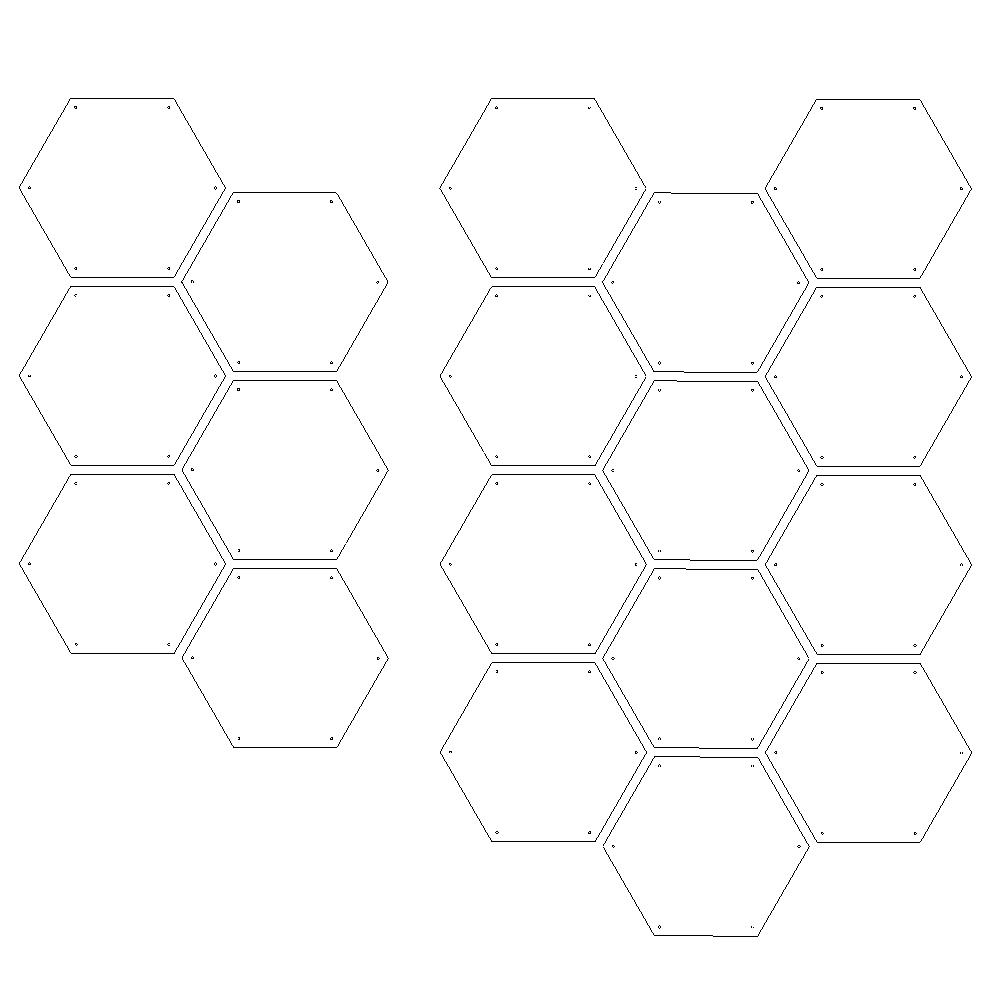 Honeycomb Half Pack = 6 tiles  Honeycomb Full Pack = 12 tiles