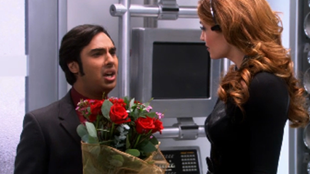 During the show Raj falls in love with the female voice of Siri on his iPhone.  At the end of the episode, he meets Siri (voice assistant) for the first time and can't speak ( a surprise ending)  Click on the photo above to watch the best video clips from this episode .