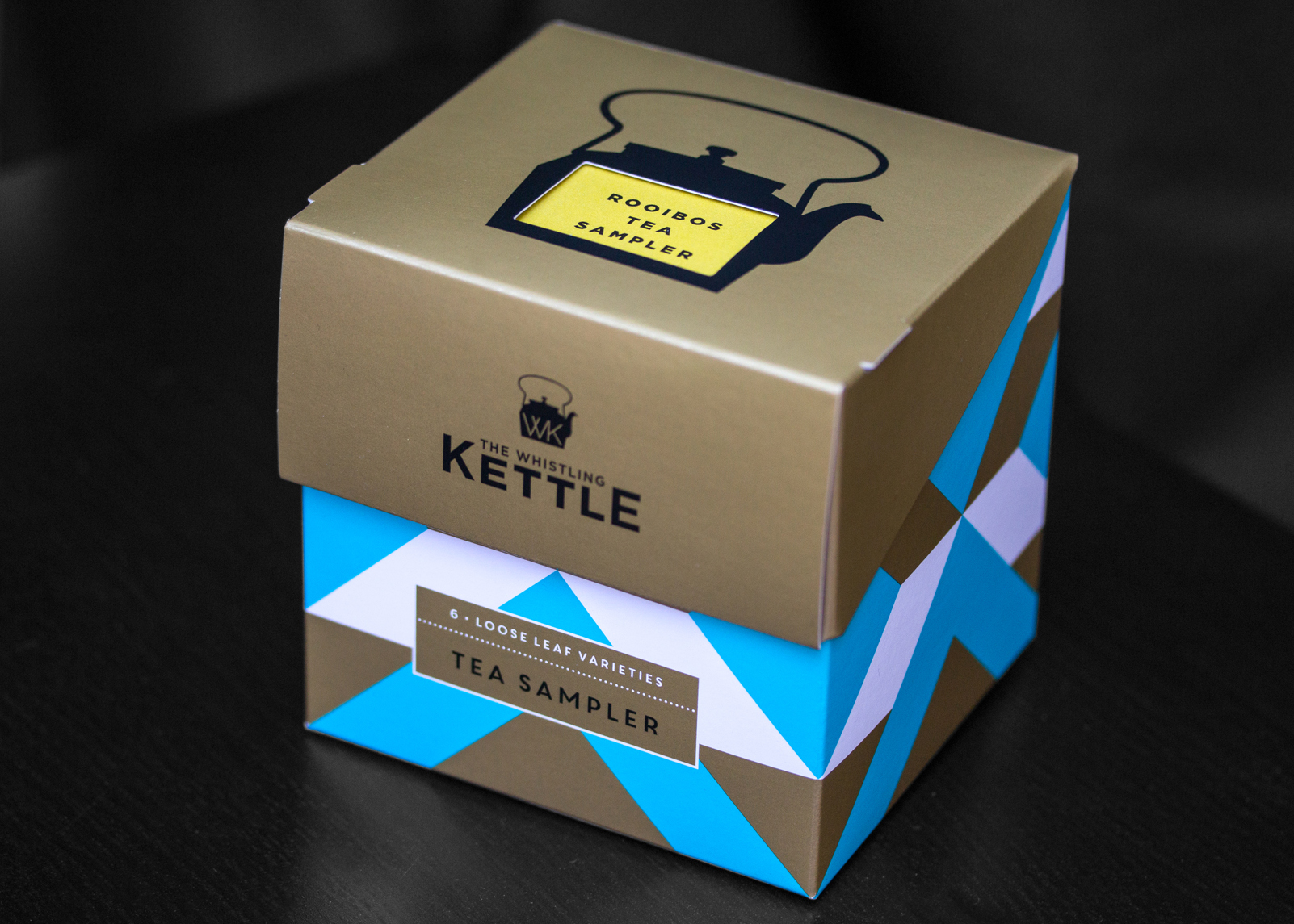 One of the Whistling Kettle Tea Sampler boxes