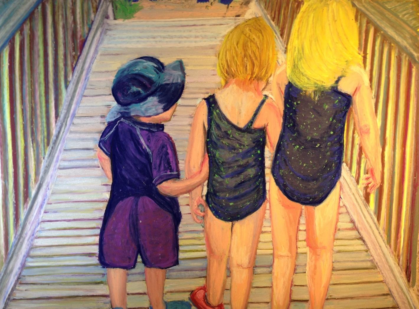 Whispering on the Boardwalk, 18 x24 original FRAMED
