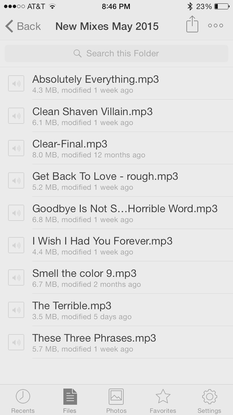The beauty of Dropbox...here's the track listing in no particular order yet
